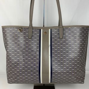 New Tory Burch Gemini Leather & Canvas Tote